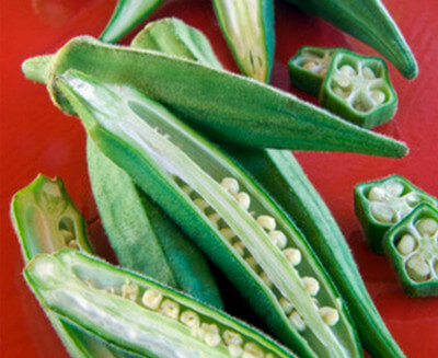 Okra fruit and its pods inside picture
